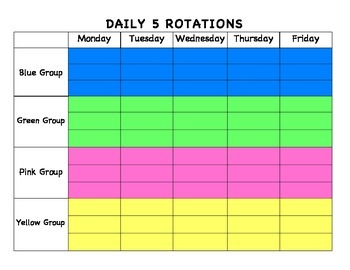 Daily 5 Rotation Blank Schedule
