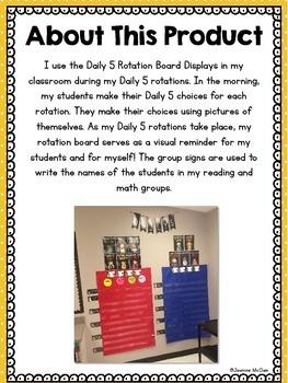 Daily 5 Rotation Board Displays