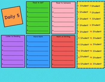 Daily 5 Rotation Board- Editable!