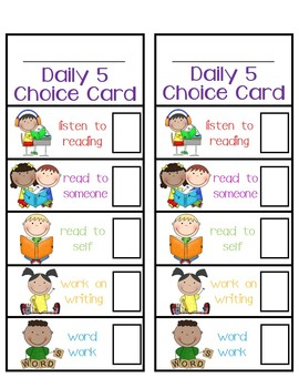 Daily 5 Rotation Choice Cards