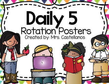 Daily 5 Rotation Posters-Bright Polka dots and Chevron