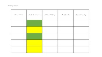 Daily 5 Rotation Schedule- 3 rotations, 5 day schedule