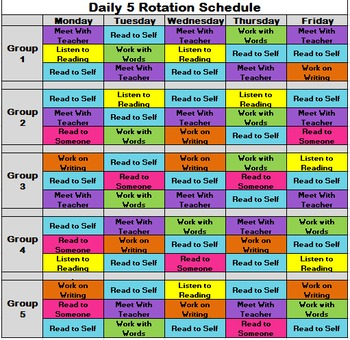 Daily 5 Rotation Schedule (5 Groups)