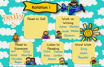 Daily 5 Rotation for SMARTBoard - Sky Theme