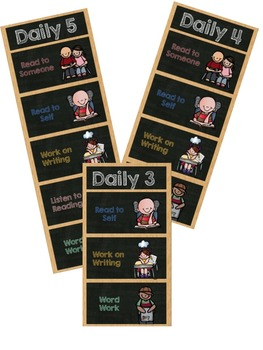 Daily 5 Rounds Rotations Cards Chalkboard Theme