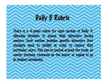 Rubric for Daily Five Reading Stations