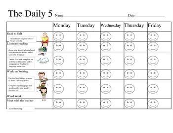 Daily 5 Schedule Checklist= FREEBIE