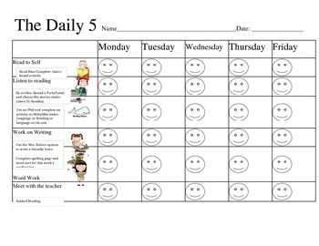 Daily 5 Schedule Checklist= FREEBIE