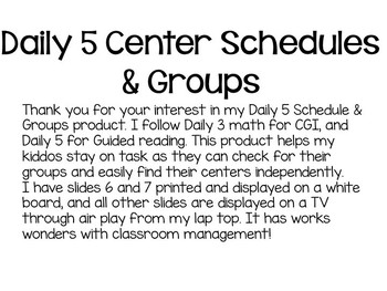 Daily 5 Schedule and Groups
