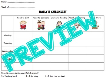 Daily 5 Self Assessment Check In