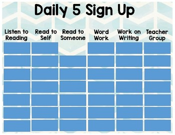 Daily 5 Sign Up (without pictures)