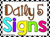 Daily 5 Signs- Black/White {Polka Dots}