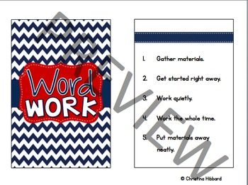 Daily 5 Signs- Navy Blue/Red {Chevron}