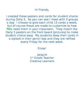 Snoopy - Peanuts Daily 5 Posters and Student Choice Cards Combo