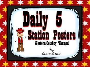 Daily 5 Station Posters: Western or Cowboy Themed FREEBIE