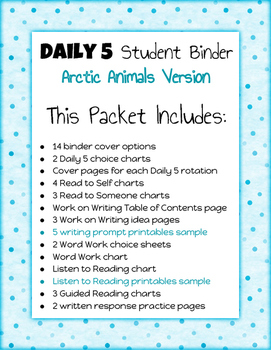 Daily 5 Student Binders (Arctic Animals Version)