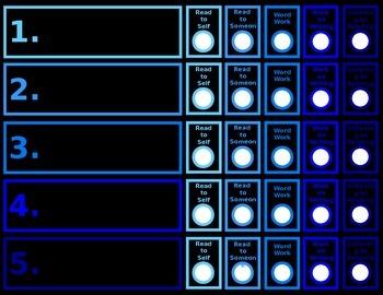 Daily 5 Student Chart Ocean Blues Chalkboard Editable Power Point