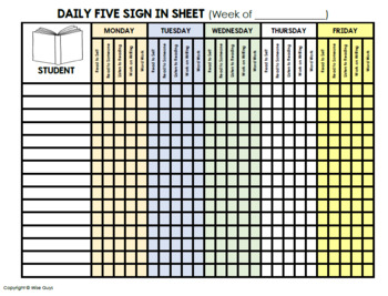 Daily 5 Student Check In Sheet