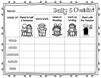 Daily 5 Student Checklist