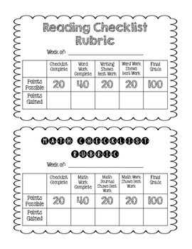Daily 5 Student Checklist and Rubric
