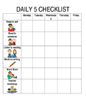 Daily 5 Student Checklist with pictures