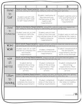 Daily 5 Student Contract & Rubric