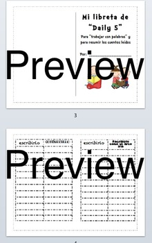 Daily 5 Student Journal in English and Spanish (cover page, word work page)