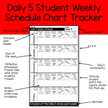 Daily 5 Student Weekly Tracker