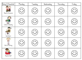 Daily 5 Student Weekly Tracking Sheet