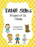 Table posters- Wizard of Oz theme