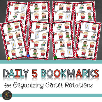 Daily 5 Themed Center Rotation Bookmarks
