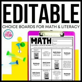 literacy center menus editable literacy center choice boards