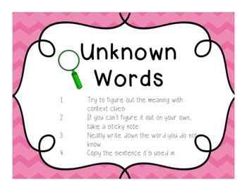 Daily 5 Unknown Word Anchor Chart Freebie