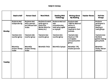 Daily 5 Weekly Lesson Plan Template - Literacy