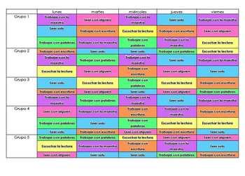 Daily 5 Weekly Matrix Schedule in Spanish