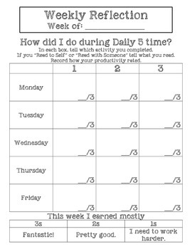 Daily 5 Weekly Reflection for Reading Street