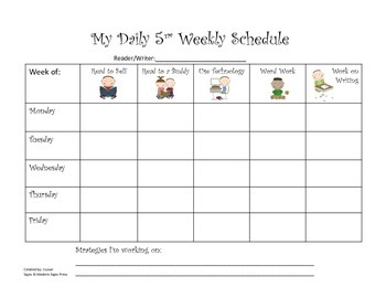Daily 5 Weekly Schedules with Sign Language/Visual Supports