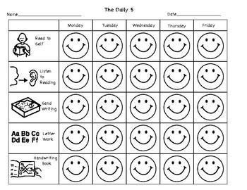 Daily 5 Weekly Task Sheet