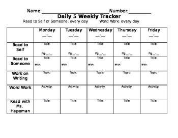 daily 5 weekly tracker by shabbychicclassroom teachers pay teachers