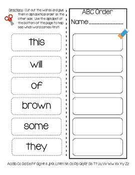 Daily 5 Word Work ABC Order Practice Pages