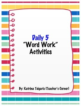Daily 5 Word Work Activities