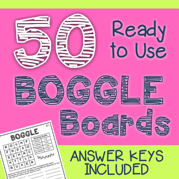 BOGGLE Boards with Answer Keys