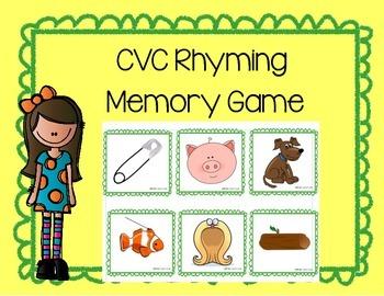 Daily 5 Word Work CVC Rhyming Memory Game