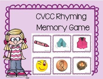 Daily 5 Word Work CVCC Rhyming Memory Game