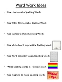 Daily 5 Word Work Choice Activities Poster
