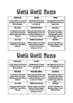 Daily 5 Word Work Menu for Upper School