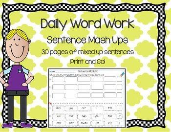 Daily 5 Word Work Sentence Mash Ups