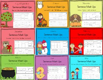 Daily 5 Word Work Sentence Mash Ups  BUNDLE FOR THE WHOLE YEAR!!!