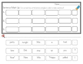 Daily 5 Word Work Sentence Mash Ups  January
