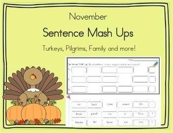 Daily 5 Word Work Sentence Mash Ups  November